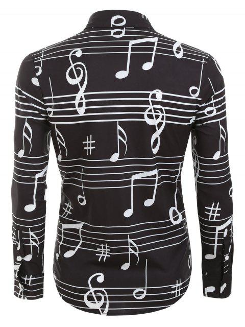 buy Long Sleeve Music Notes Print Button Up Festival Shirt - BLACK 2XL Mobile
