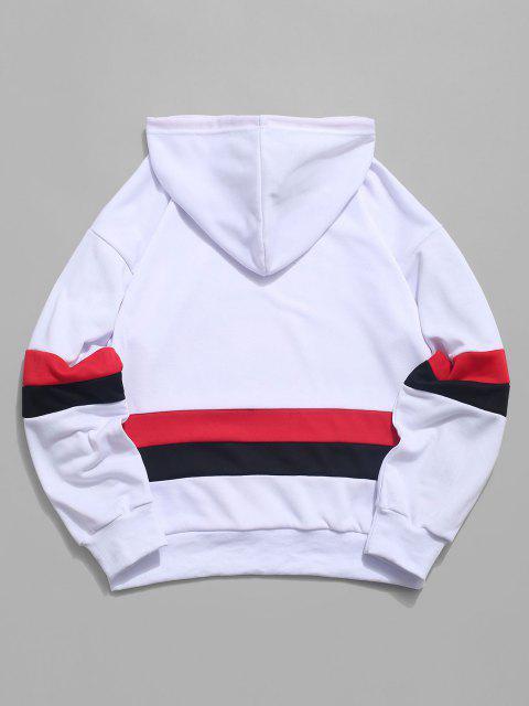 ZAFUL Amerikanischer Flagge Farbblock Buchstabedruck Kapuzenpulli - Weiß M Mobile