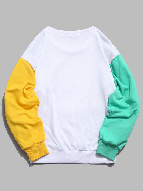 buy ZAFUL Cartoon Sun Mountain Graphic Color Block Splicing Sweatshirt - WHITE S Mobile