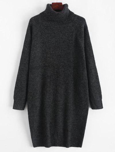 Turtleneck Chunky Knit Longline Sweater - Graphite Black M