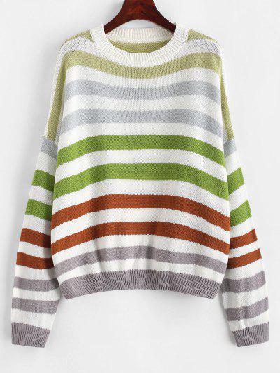 Contrast Striped Loose Crew Neck Sweater - Coffee S