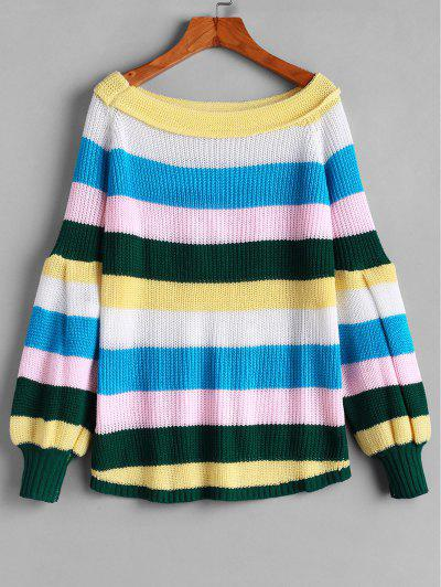 Raglan Sleeve Colorful Stripes Pullover Sweater - Multi-a S