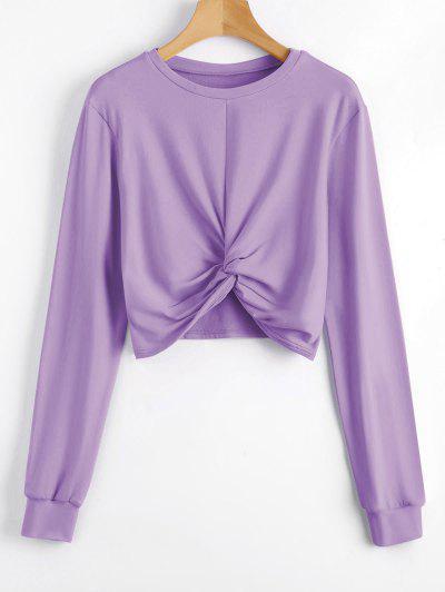Heathered Cropped Twist Sweatshirt - Purple L