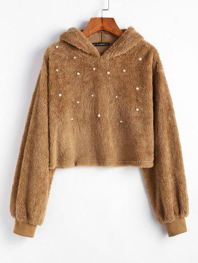 ZAFUL Beading Solid Crop Faux Fur Hoodie - Light Brown Xl
