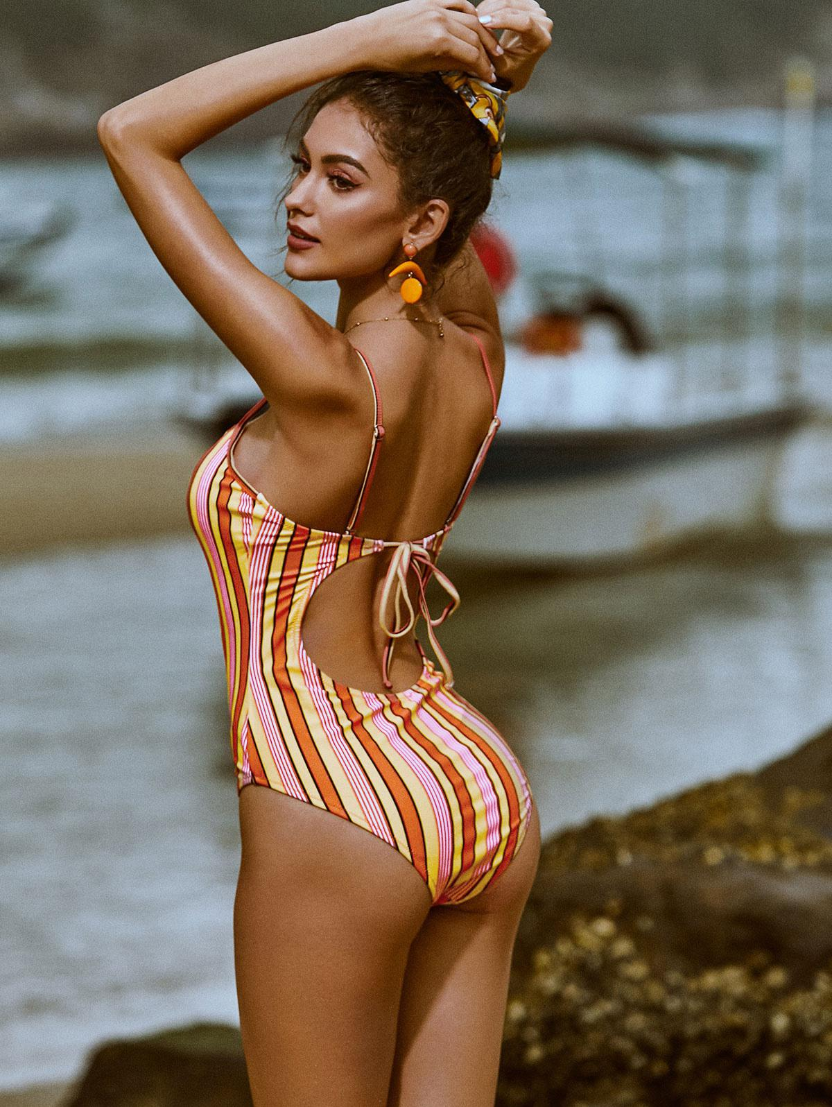 ZAFUL V-wired Multi Striped One-piece Swimsuit thumbnail