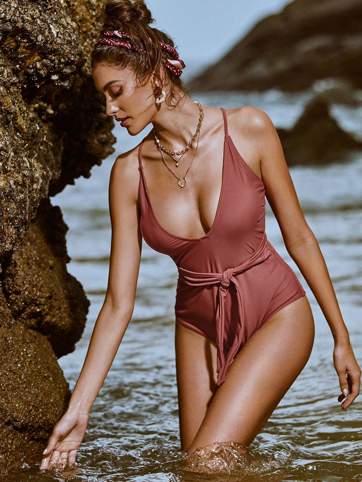 ZAFUL Belted Lace Up One-piece Swimsuit thumbnail