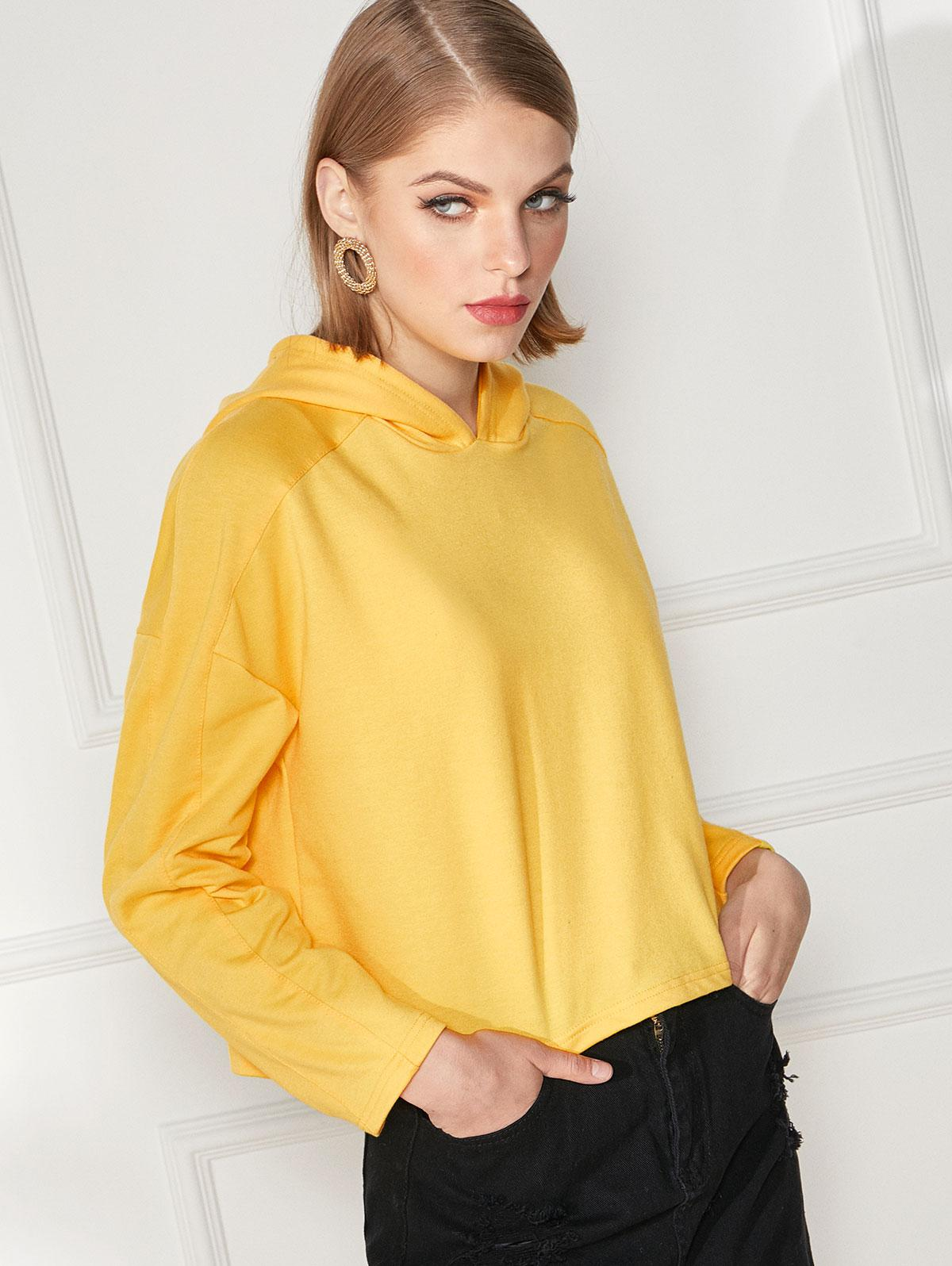 Plain Drop Shoulder Boxy Pullover Hoodie