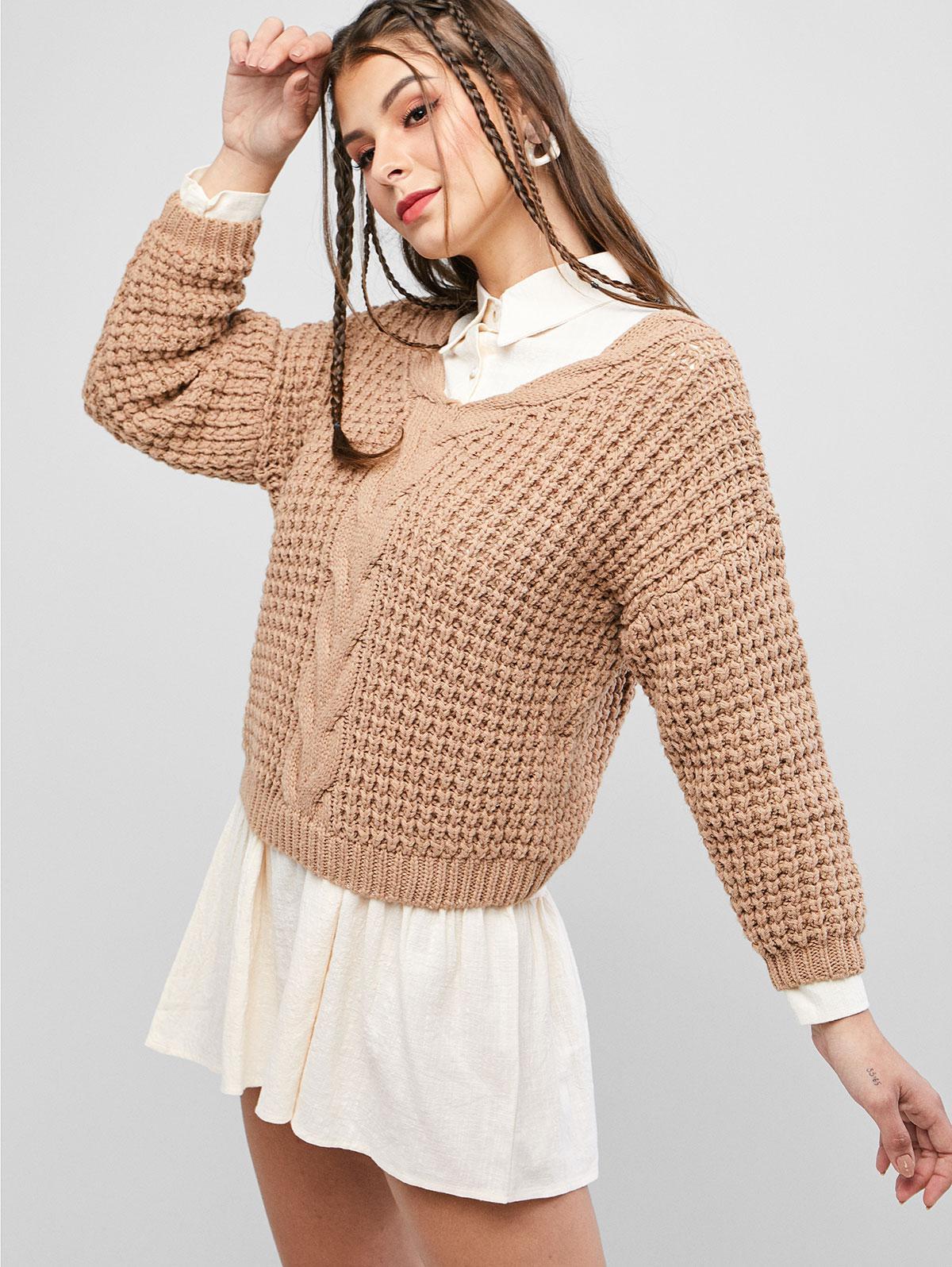 Drop Shoulder V Neck Chunky Sweater