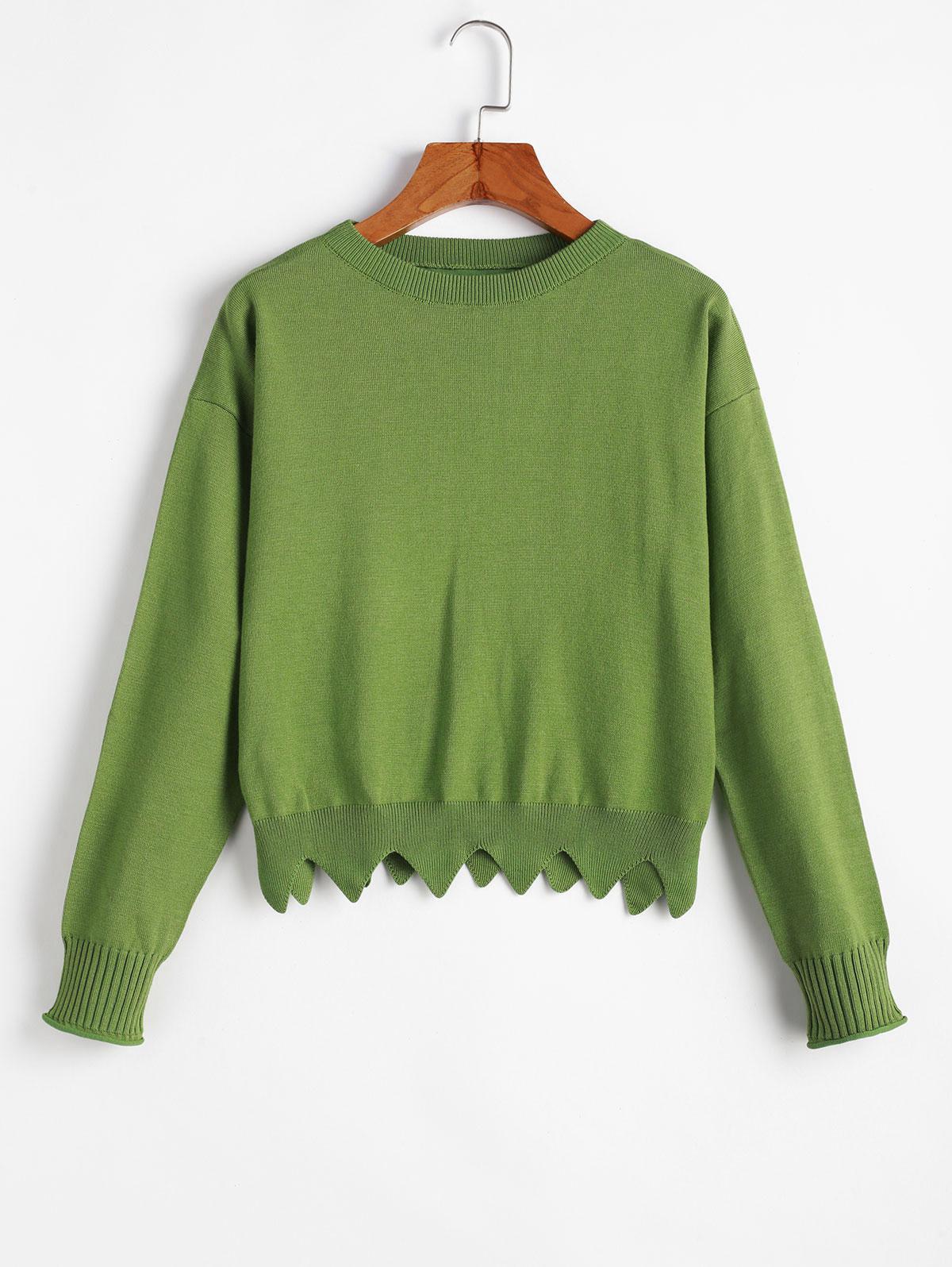Crew Neck Zig Zag Hem Pullover Sweater
