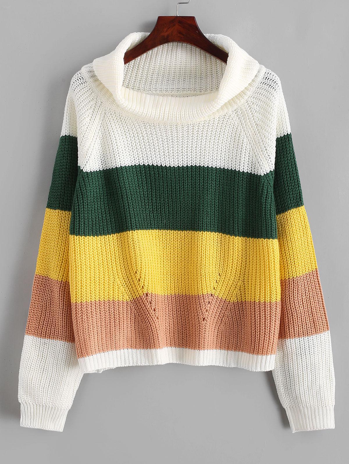 Color Block Raglan Sleeves Open Knit Sweater thumbnail