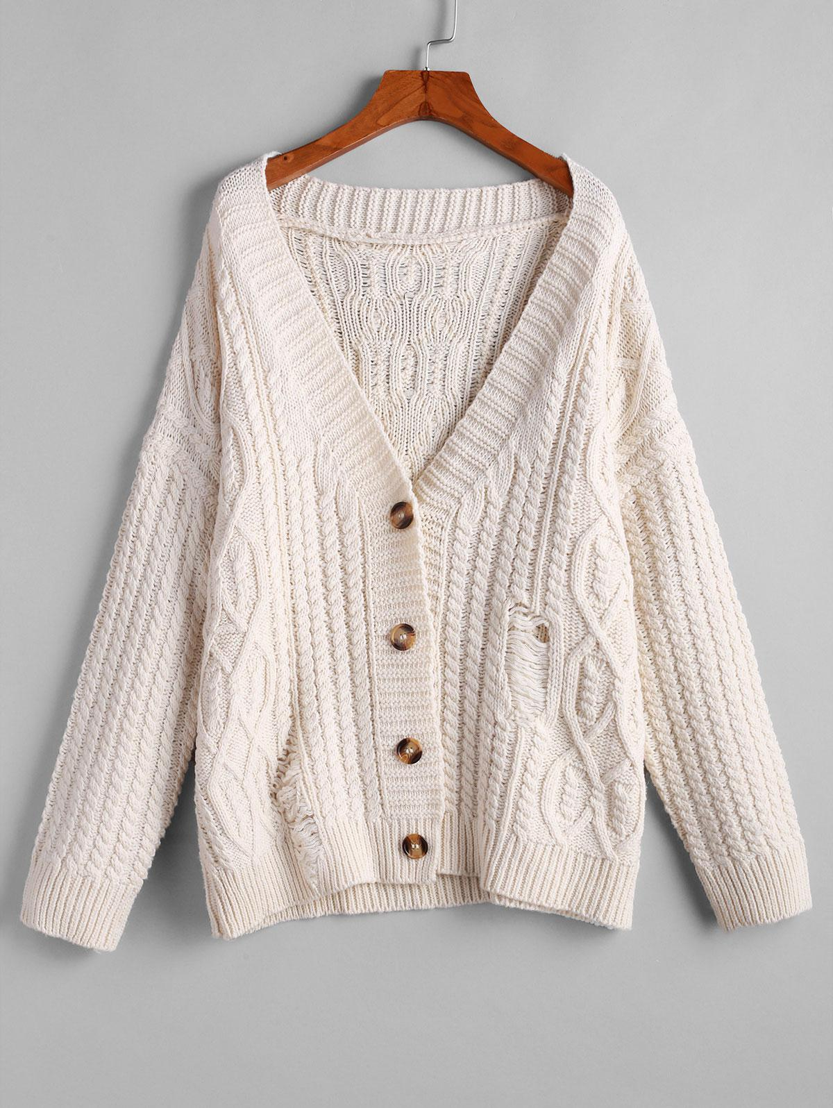 ZAFUL Button Up Cable Knit Solid Chunky Cardigan thumbnail