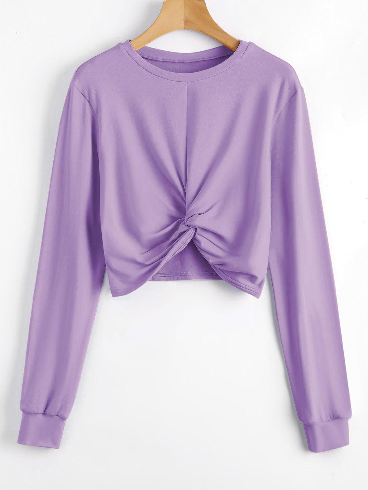 Heathered Cropped Twist Sweatshirt