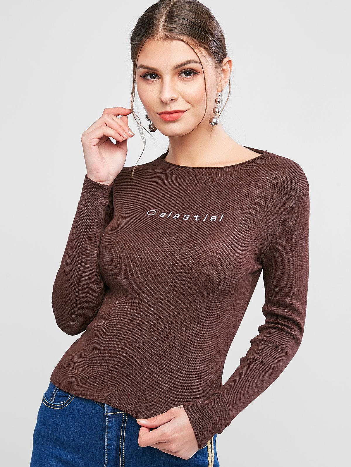 Slim Letter Embroidered Pullover Sweater thumbnail