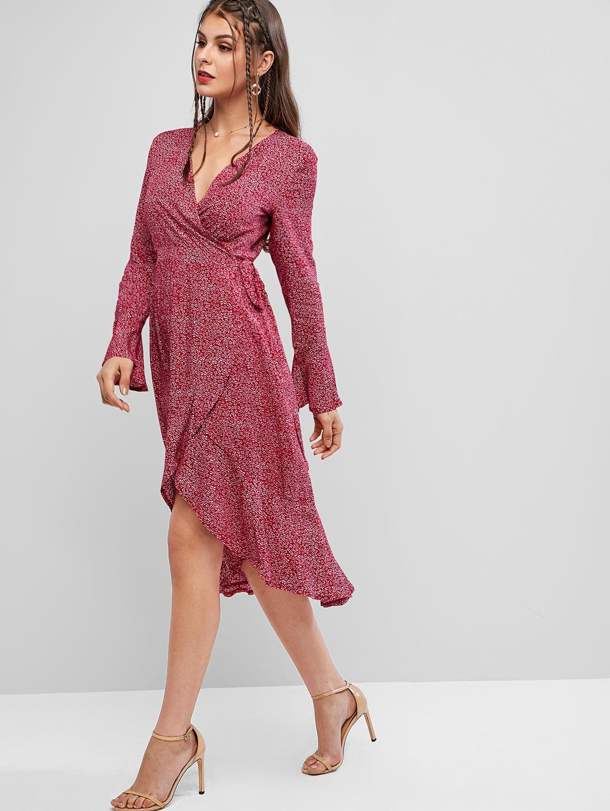 Printed Flare Sleeve Wrap Midi Dress, Bean red