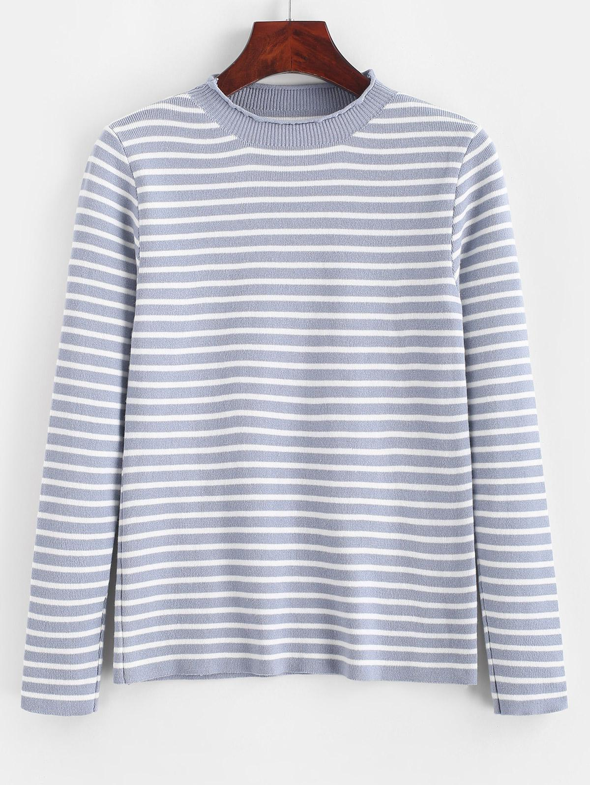 Slim Contrast Stripes Pullover Sweater
