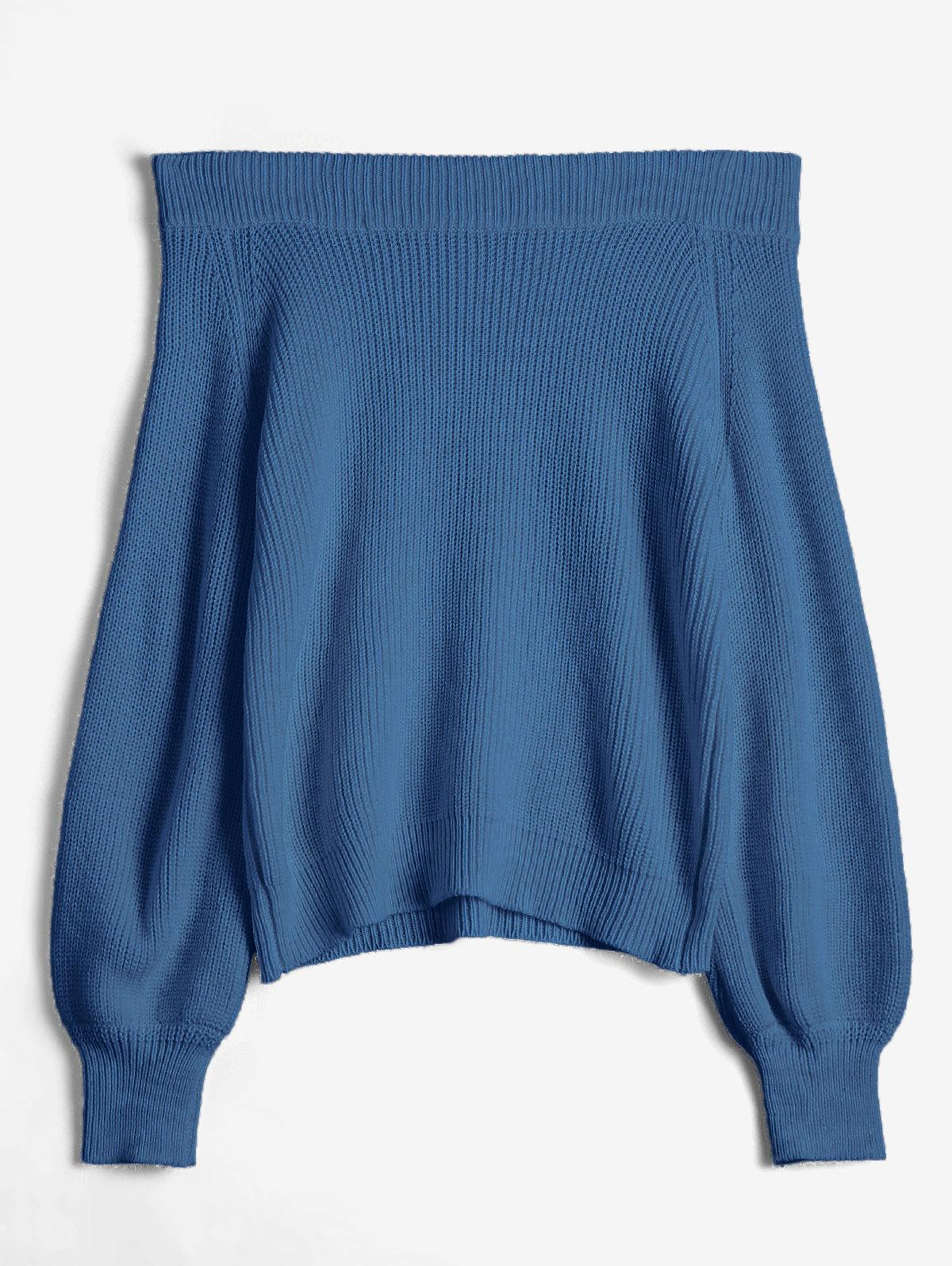 Off The Shoulder Lantern Sleeve Pullover Sweater
