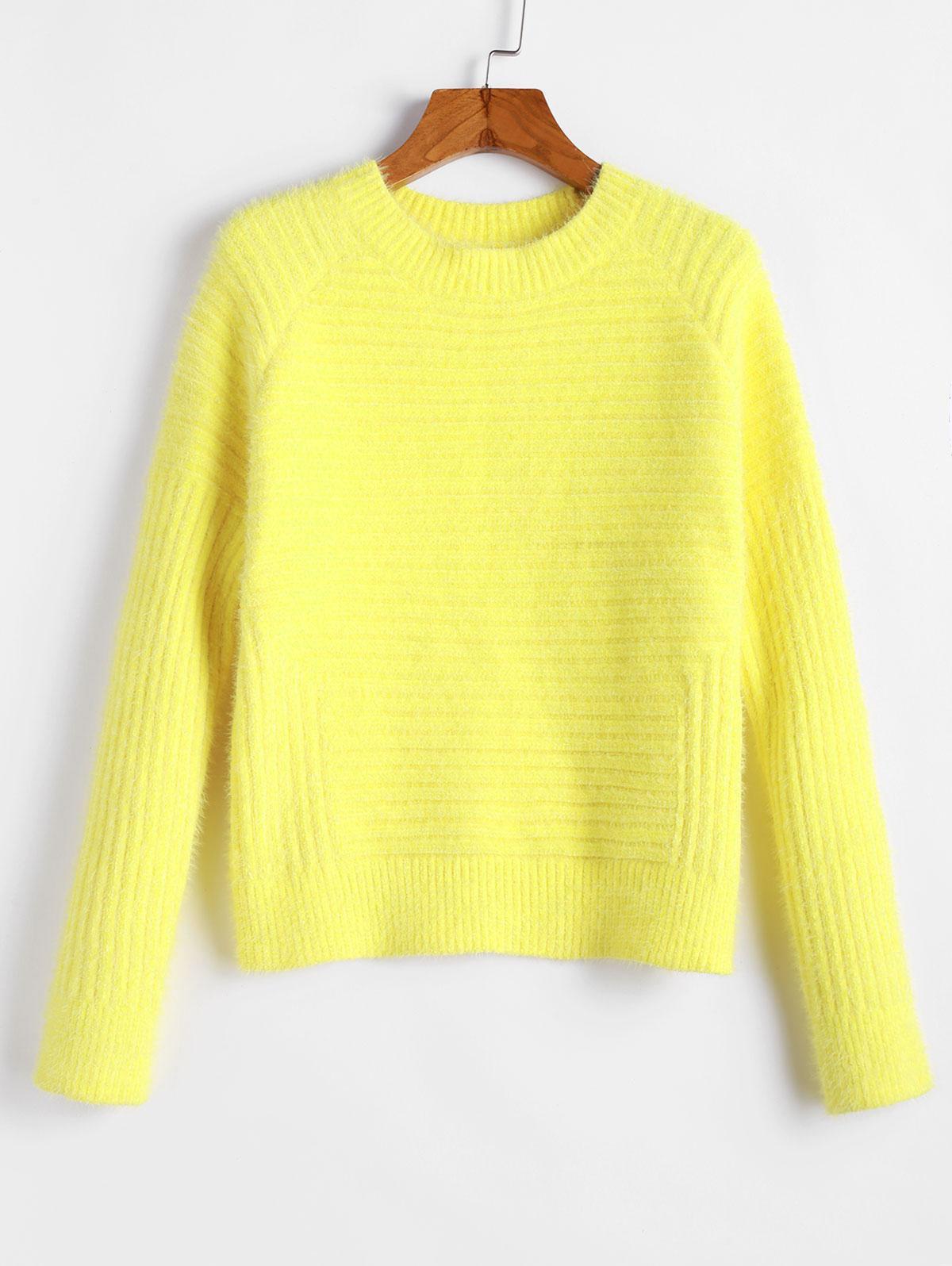ZAFUL Raglan Sleeves Solid Crop Fluffy Sweater, Yellow