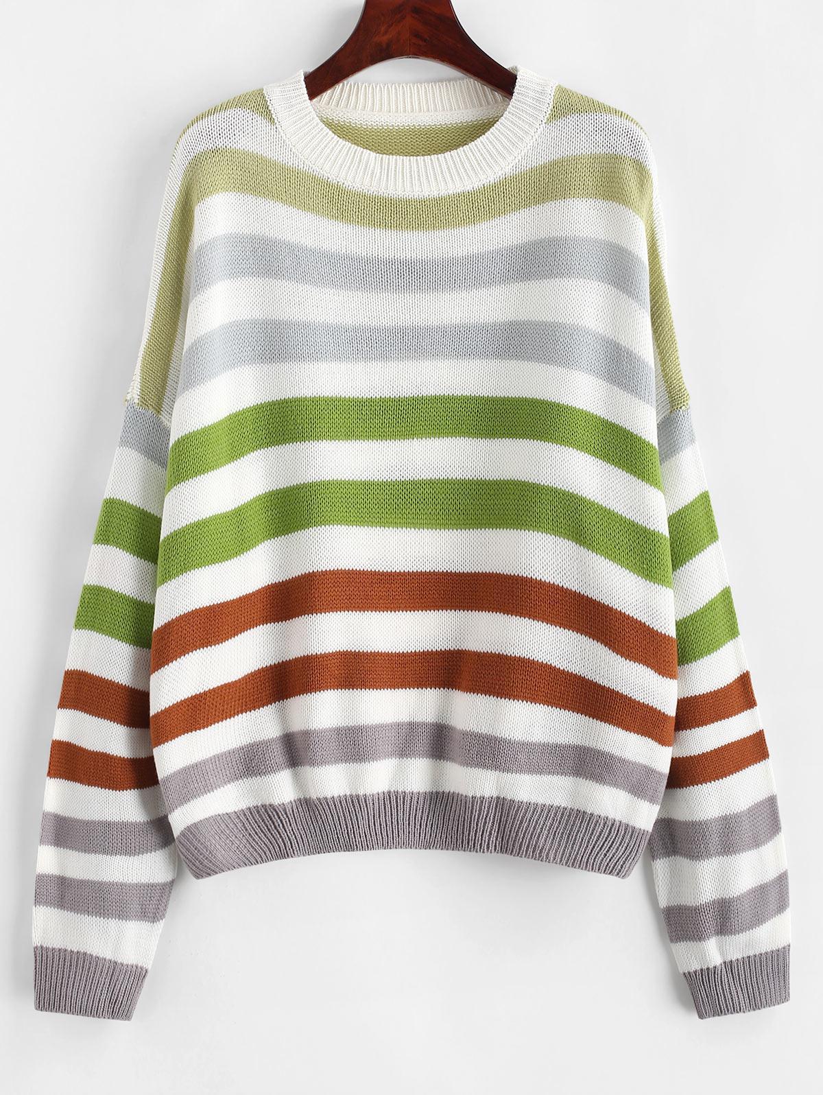 Contrast Striped Loose Crew Neck Sweater