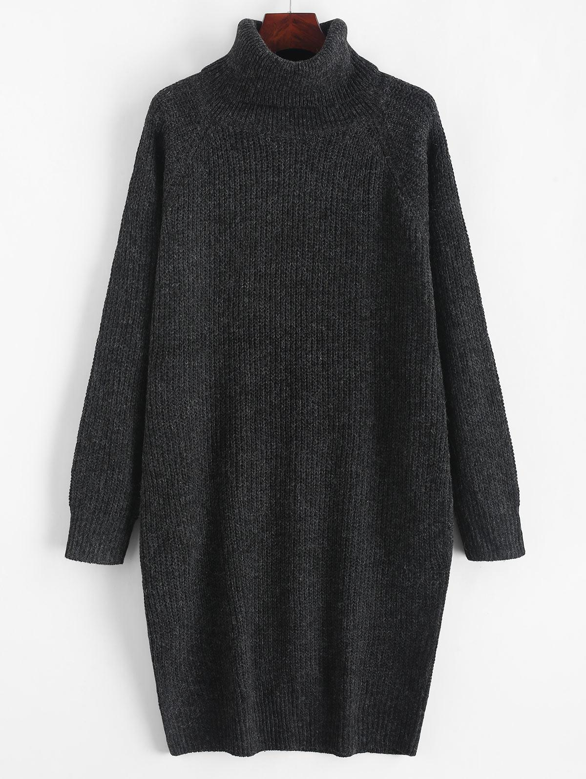 Turtleneck Chunky Knit Longline Sweater