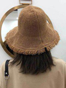 Frayed Hem Folding Straw Hat