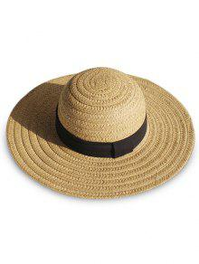 قبعة الشاطئ القش واسعة بريم - أسمر
