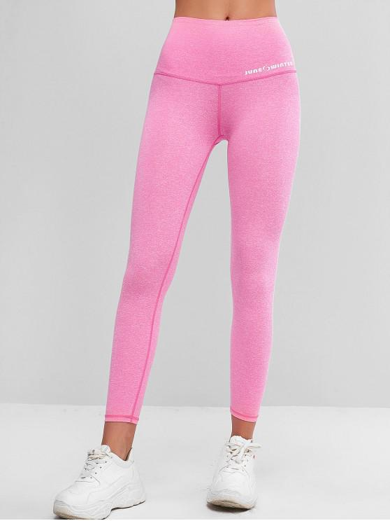 ladies Active Heathered 7/8 Leggings - ROSE RED M