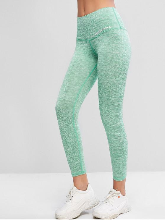 trendy Active Heathered 7/8 Leggings - GREEN SNAKE S