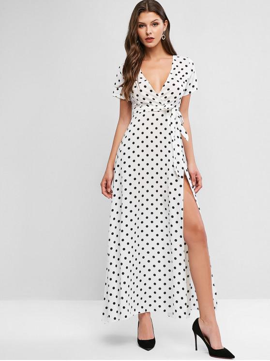 ladies Polka Dot Belted Overlap Maxi Dress - WHITE S