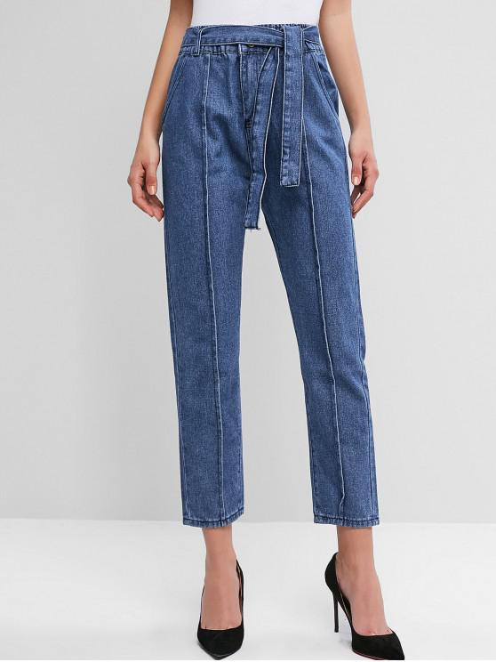 ladies High Waisted Pocket Belted Pencil Jeans - DENIM BLUE L