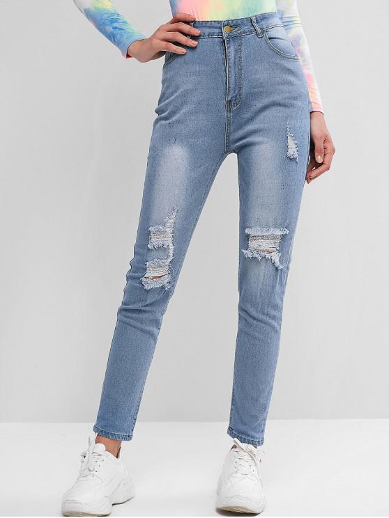 Betrübte Dünne Jeans mit Hoher Taille - Denim Blau L