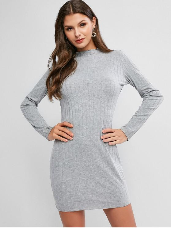 lady Long Sleeve Bodycon Mini Dress - GRAY S