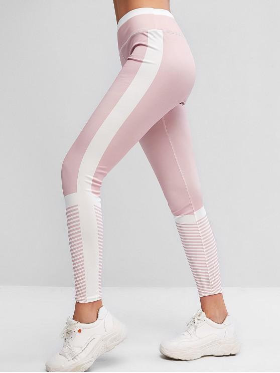 best Pull On Stripes Color Block Sports Leggings - LIGHT PINK S