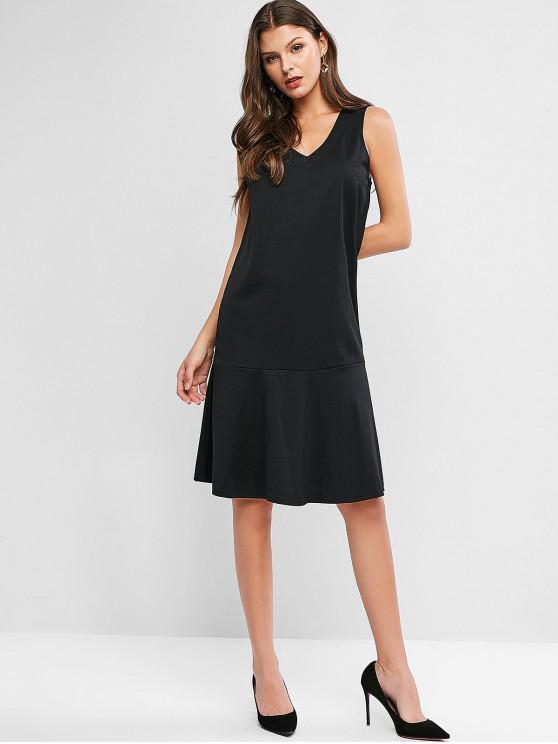 womens V Neck Flounced Hem Pinafore Casual Dress - BLACK L