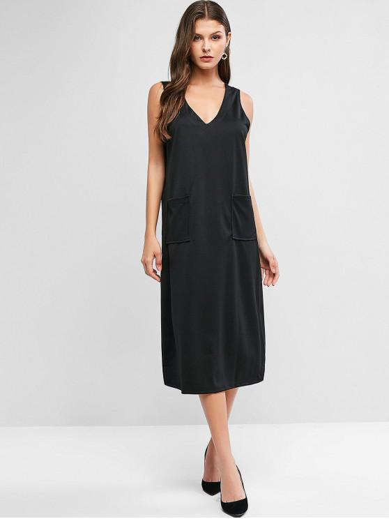 women V Neck Pockets Midi Pinafore Dress - BLACK 2XL