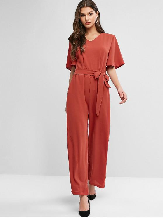 fancy V Neck Flare Sleeve Belted Palazzo Jumpsuit - RED S