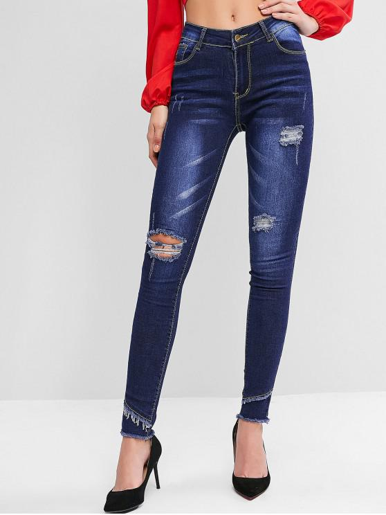 best Bleach Wash Mid Rise Distressed Skinny Jeans - DENIM DARK BLUE L