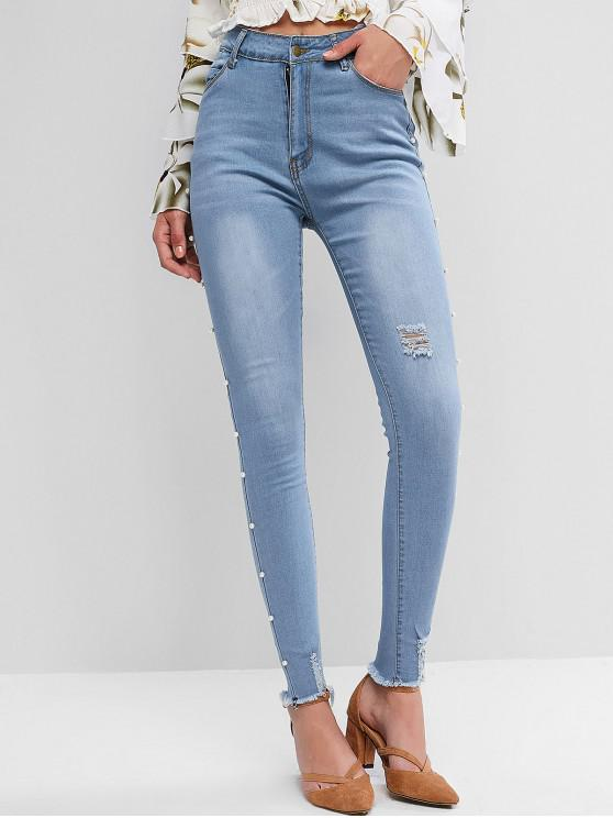 women Faux Pearl Trim Distressed Frayed Hem Pencil Jeans - BLUE IVY L