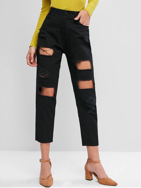 lady Ripped Cut Out Pocket Pencil Jeans - BLACK L