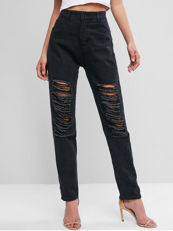 ladies Destroyed High Waisted Straight Jeans - BLACK L