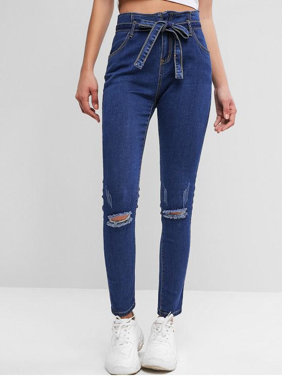 new Distressed Belted Paperbag Pencil Jeans - BLUE M