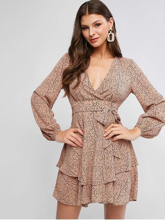hot ZAFUL Spot Print Surplice Belted Layered Hem Dress - ORANGE PINK L