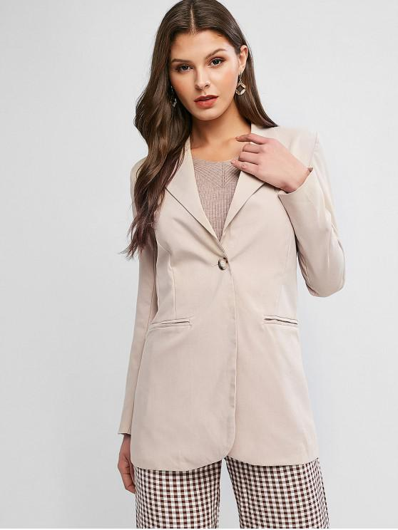 sale Lapel One Button Slit Back Pocket Tunic Blazer - LIGHT KHAKI M