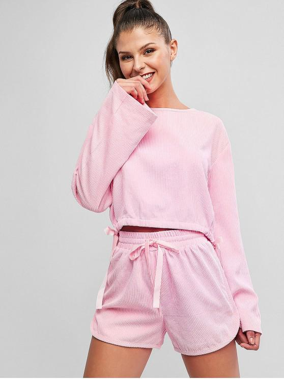 hot Striped Texture Drawstring Corduroy Top And Shorts Set - PINK M