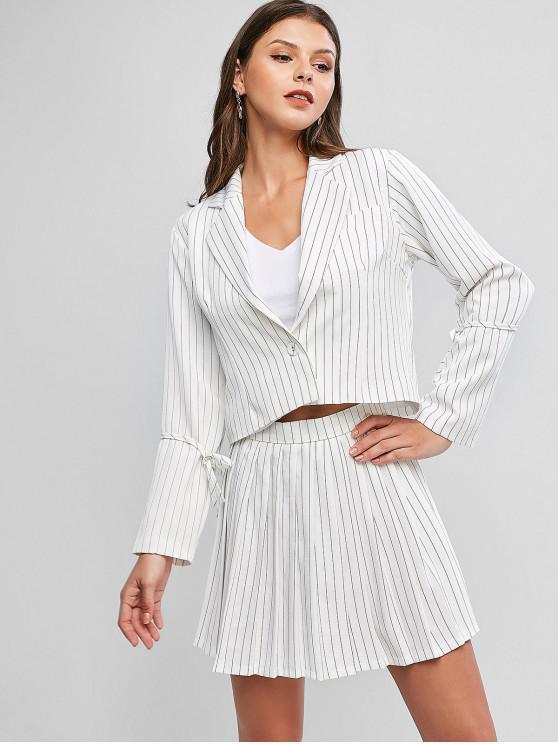 trendy Pinstriped One Button Blazer And Mini Skirt - WHITE M