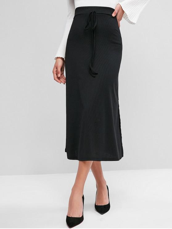 unique Tie Waist Ribbed Slit Midi Skirt - BLACK XL