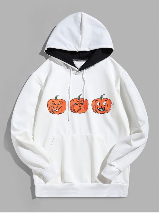 buy Halloween Funny Pumpkin Print Kangaroo Pocket Casual Hoodie - WHITE XL