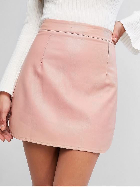 Mini saia de cintura alta de couro falso - Damasco S