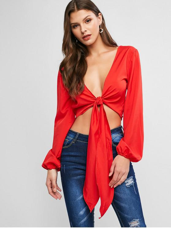 women's Lantern Sleeve V Neck Backless Cropped Blouse - RED XL