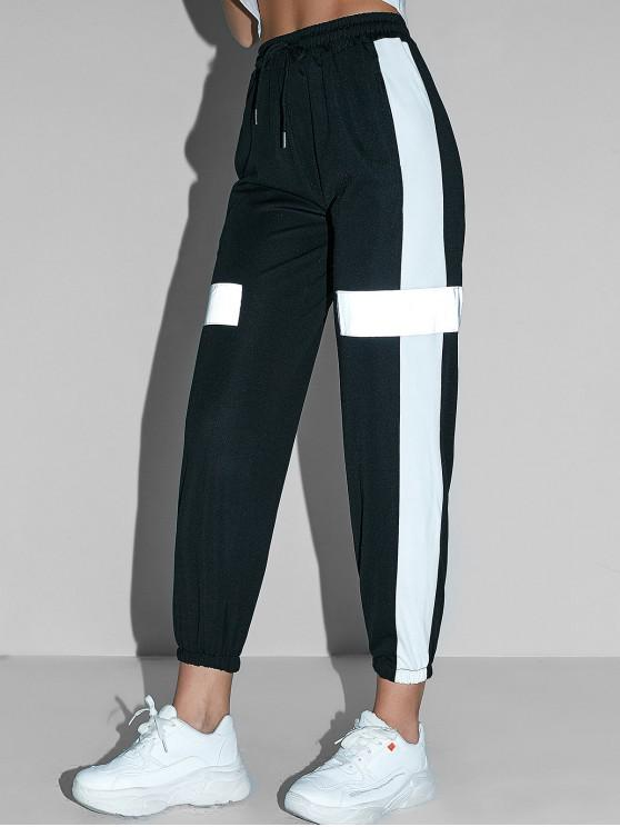 sale Reflective Color Block Pocket Jogger Pants - BLACK XL