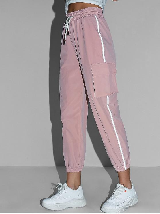 buy Reflective Side Drawstring High Waisted Jogger Pants - PINK S